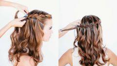 Французская коса «Водопад» - схема плетения