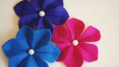 Как сделать объемные цветы из фетра