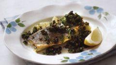 Сибас с оливковым соусом