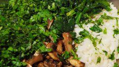 Рис с грибами и шпинатом