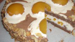 """Торт """"Яичница"""" с персиками и взбитыми сливками"""