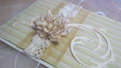 Как сделать открытку с кружевом