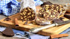 Шоколадная колбаса из печенья: пошаговый рецепт