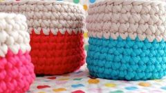 Knitted basket for small items from old t-shirts