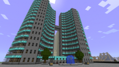 Building in Minecraft: the castle, the portal to Heaven/Hell, a portal to the Ender World