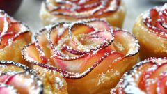 Рецепт розочек из слоеного теста с яблоками