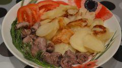 Куриные сердечки с картофелем в мультиварке