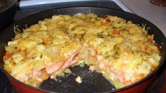 Запеканка из картофеля с колбасой