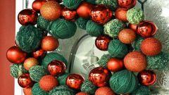 Как сделать нарядный новогодний венок из клубков за 5 минут