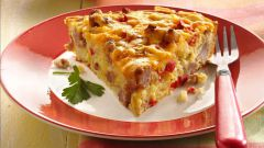 Быстрый и вкусный наливной пирог с колбасой