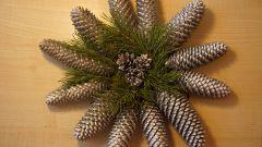 Как сделать новогодний венок из серебряных шишек