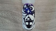 Как на ноготках гель-лаком нарисовать снежный домик