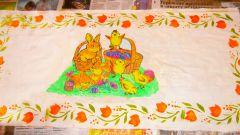 Как сделать пасхальное полотенце с помощью раскраски, термобумаги и трафарета