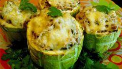 Stuffed young zucchini