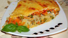 Пирог-запеканка с овощами и фаршем