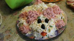 Как приготовить новогодний салат «Лохматая собачка» с мясом и колбасой