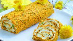 Как приготовить морковный рулет с сырной начинкой