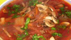 Как приготовить постный борщ с фасолью и шампиньонами