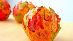 Как сделать светильник из осенних листьев