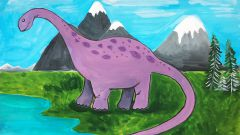 Как нарисовать динозавра поэтапно гуашью (Мастер-класс для детей)