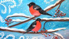 Как нарисовать снегирей на ветке поэтапно гуашью