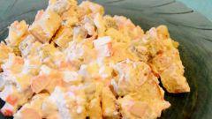 Салат «Розовый рай» с крабовыми палочками: пошаговый рецепт с фото