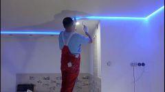 Натяжной потолок с подсветкой: варианты и способы их установки