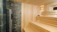 Облицовка внутреннего пространства бани плиткой и вагонкой