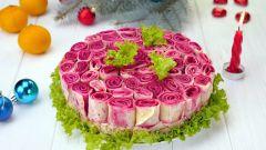 """Праздничный салат с блинами """"Букет роз"""": пошаговый рецепт с фото"""