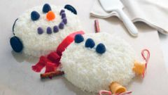 Сметанно-кокосовый торт «Снеговик»