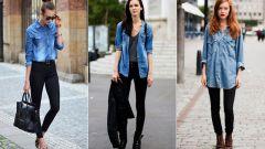 Как стильно носить джинсовую рубашку
