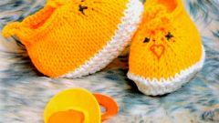 Как связать носочки для новорожденного в виде цыплят