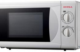 Микроволновая печь Supra MWS - 2117MW быстро разогревает пищу и размораживает продукты