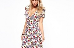 Платье ASOS Strapless Dress In Floral Print
