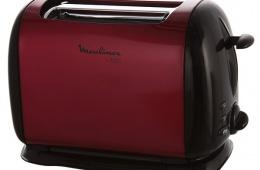 Стильный металлический тостер  MOULINEX Subito Red Wine LT120530