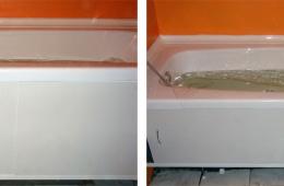Устанавливал акриловый вкладыш в ванну