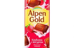Молочный шоколад Alpen Gold Клубника с йогуртом