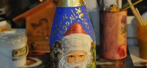 Как украсить бутылку на Новый год