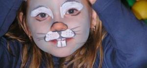 Как нарисовать мордочку зайца на лице