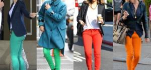 С чем носить оранжевые или салатовые джинсы