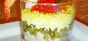 Салат из печени трески и авокадо