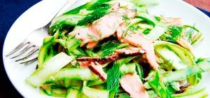 Испанский салат с ветчиной и свежей спаржей