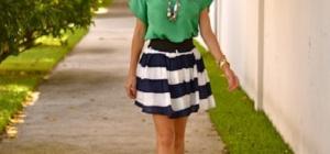 Как и с чем носить полосатые юбки