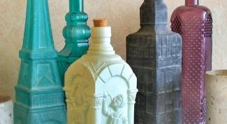Как украсить стеклянную бутылку