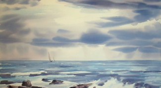 How to paint sea in watercolor