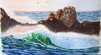 How to draw a sea gouache