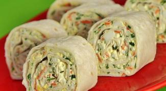 Lavash rolls with crab sticks