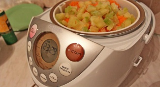 Vegetable stew with beef in a slow cooker