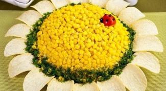 "Салат ""Подсолнух"" с курицей и кукурузой"