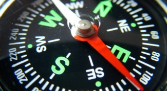 Where the red arrow shows the compass